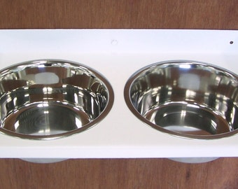 Elevated Cat Feeder Wall Mount Bowls Raised Feeding Station Toy Breed Dog Dishes All Steel Powder Coated