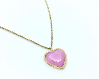 Heart shape Pink pedant long necklace on gold tone chain