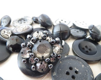 Assorted Black Buttons x 27