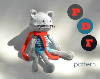 PDF Amigurumi cat pattern. Crochet animal pattern. Instant download file.