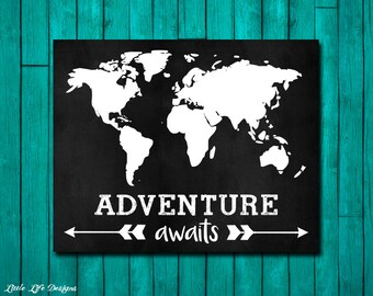 Adventure Awaits Map Sign. Travel the World. Travel Sign. World Traveler Map. World Map Art. Gift for Traveler. Adventure is out there! Map