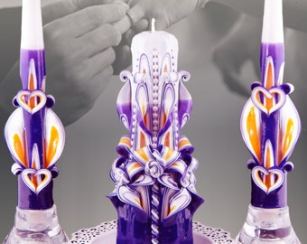 Unity candle Unity candles Wedding candle set Royal Blue and Gold unity candle set carved candles wedding ceremony