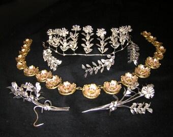 Vintage alemán, mirto nupcial Floral plata, Tiara