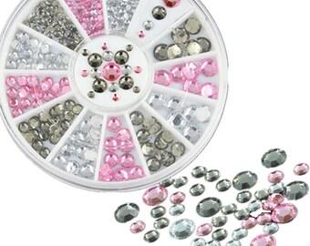 Nail Art Decoration DIY Black White Pink Glitter Rhinestones