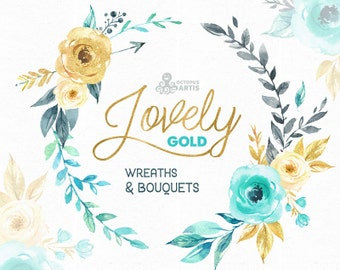 Lovely Flowers Gold. Wreaths and Bouquets. Watercolor Clipart, mint, peony, arrows, flourish, frame, bouquets, valentines, wedding,  boho