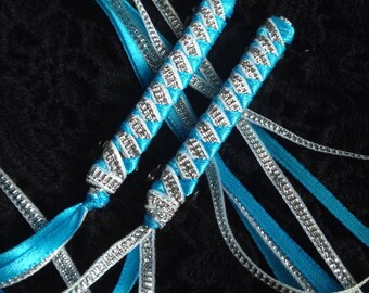 Ribbon Barrettes / Set of Two in Turquoise and Silver