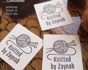 Knit: personalised rubber stamp (3x3 cm)