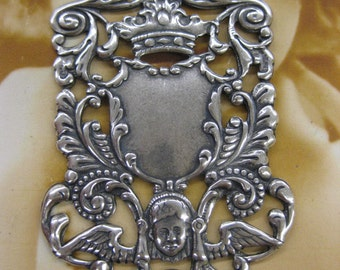 Sterling Silver Ox Plated Brass Baroque Angel Crown Coat Of Arms Plaque  2176SOX  x2