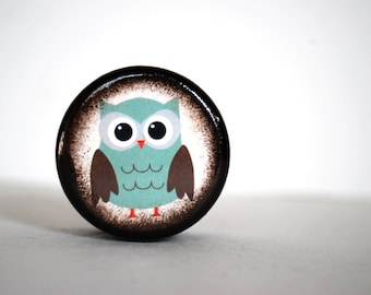 Pill Box Teal Owl Pill Box Small Treasure Box Tooth fairy Box Kids Room Decor Owl Collector