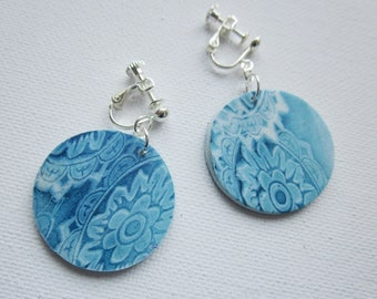Clip earrings, clip on earrings, women's ear clips, denim blue and white clip on dangle earrings