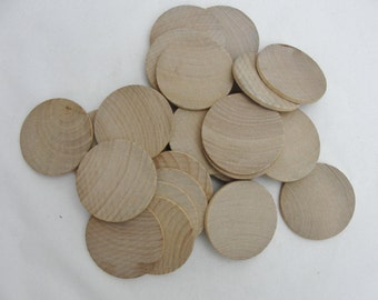 """25 Wooden Circles, 1.75 inch wooden disc, wooden disk 1 3/4"""" x 1/8"""" thick unfinished DIY"""