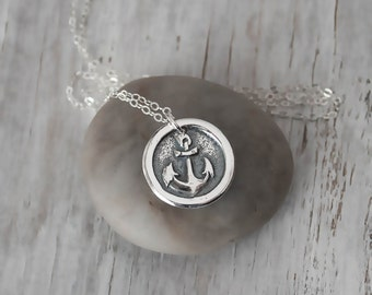 Wax Seal Anchor Necklace - Nautical Pendant  -  Sailor Necklace with Sterling Silver Chain -  Anchor Charm - Eco Friendly Silver Handcrafted