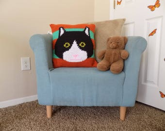 Striped Cat Pillow Cover