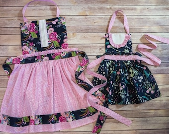 """Sugarplum Apron PDF Sewing Pattern, including child sizes 12 months - 12 years and doll sizes 14"""", 15"""", 18"""", Child Apron, Doll Apron"""