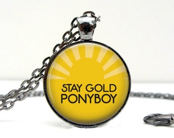 Stay Gold Ponyboy Necklace : Glass Picture Pendant Photo Pendant Handcrafted Jewelry  (1699)