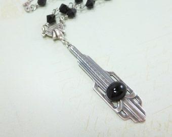 Art Deco Necklace Pendant Art Deco Jewelry Black Silver Great Gatsby Roaring 20s Empire