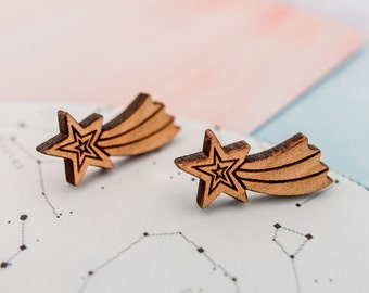 Shooting Star Earrings, Star Earrings Earrings, Wooden Star Earrings, Star Studs, Wooden Studs, Natural Earrings, Shooting Star Jewellery