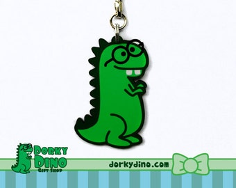 Dorky Dino Keychain: Green Dinosaur with Glasses and Buck Teeth, Geeky or Nerdy T-Rex Key Chain