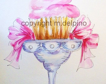 Pink cupcake original watercolor painting nursery kitchen dining room matted 18 x 24