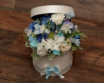 Artificial hat box flower arrangement /wedding/gift
