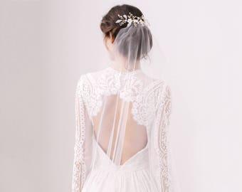 Barely there wedding veil, Minimal wedding veil, Lightweight wedding veil
