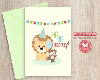 Birthday Card, Printable Birthday Card, Zoo Animal Birthday Card, Zoo Animal, Printable Zoo Birthday Card