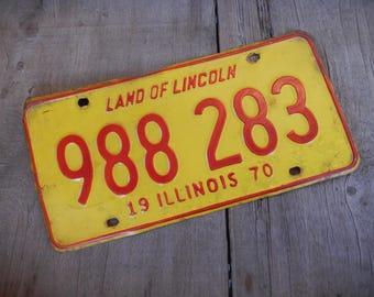Vintage License Plate Illinois 1970 Rustic Garage, Industrial, Man Cave, Pub, Bar Decor, Wall Hanging, Home Decor