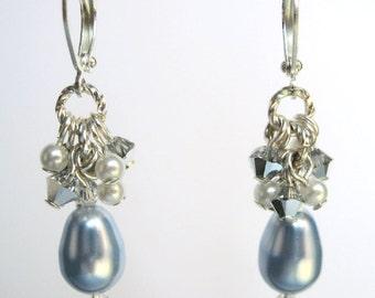 Blue Pearl Earrings, Light Blue Swarovski Faux Pearl Teardrop Earrings, Drop Pearl Earrings, Cluster Pearl Earrings, Party Jewelry