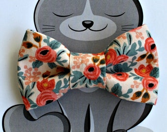 Peach Floral Print Bow Tie for Cat, Dog Bowtie, Slide on Collar Accessory, Made in Canada, Spring, Summer, Flowers, Gift for Animal Lover