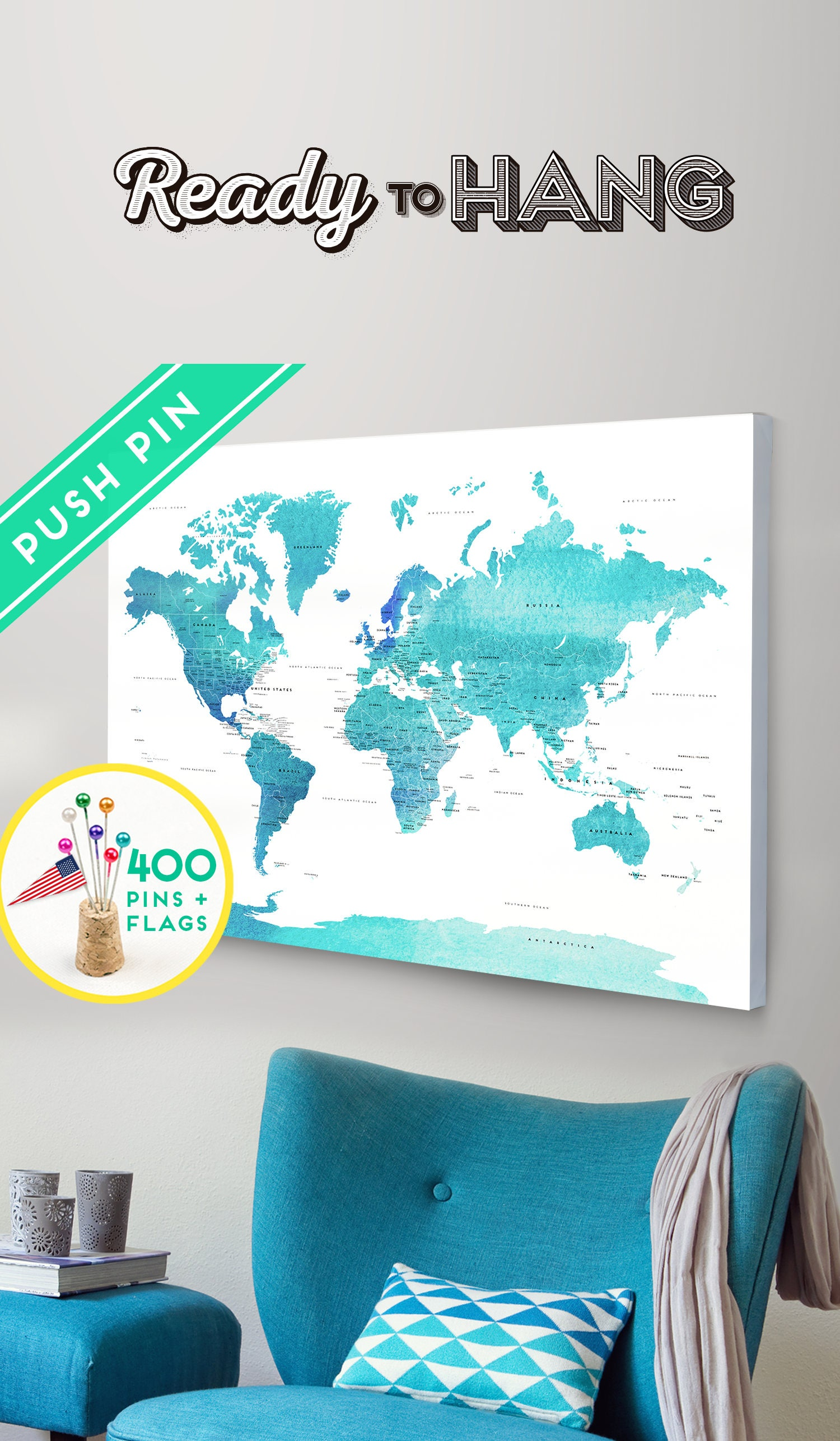 Push Pin World Map CANVAS World Map Watercolor Blue Countries - World Map with Pins, Pin It Map, Pin it Adventures, Gift Idea, 240 Pins