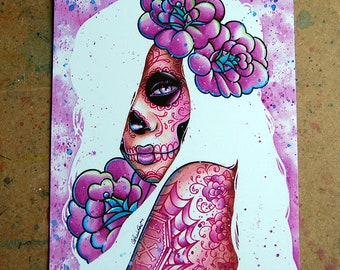 5x7, 8x10, or 11x14 Signed Art Print - Day of the Dead Sugar Skull Girl Portrait With Tattoos - Lola - Dia De Los Muertos