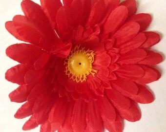 Red Daisy Hair Clip