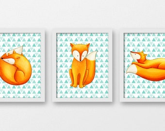 Foxes nursery wall decor, forest animals nursery wall art, watercolour woodland nursery art prints, foxes bedroom decor, A-3082