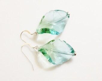 Glass Leaf Earrings, Lampwork Bead Earrings