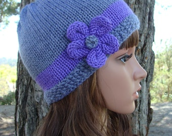 DIY - Knitting PATTERN #5: Knit Hat with knit flower pattern, includes 4 sizes for (Infant, Toddler, Child, and Adult) - PDF Digital Pattern