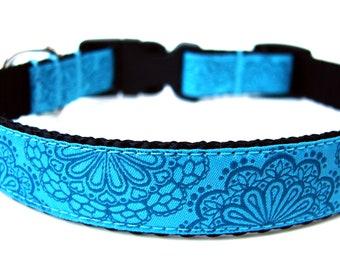 """Lace Dog Collar 3/4"""" Blue Dog Collar"""