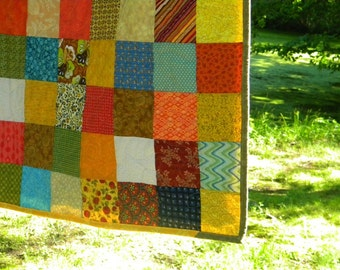 Patchwork Quilt, Warm Earthtone cotton bedding, Queen Size 93 X 93 custom handmade comforter with tangerine, aqua, golds Graduation Gift