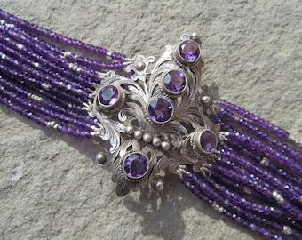 Reserved for Katharine #5:Amethyst Bracelet,Peruzzi Brooch Bracelet,Peruzzi Jewelry,Repurposed Peruzzi Brooch,Multi Strand Gemstone Bracelet