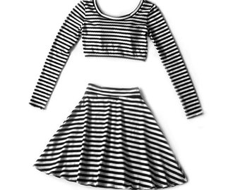 Two Piece Karma Stripe Set Long Sleeve Crop and High Waist Skater Skirt, Matching Set, Twin Set, Black and White Stripes