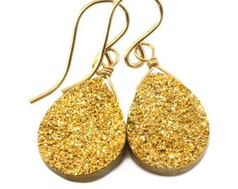 Golden Drusy Earrings Druzy Teardrop Shape 14k gold filled or Sterling Silver Gold Druzy Quartz Ear Wires Simple Drop lightweight quartz
