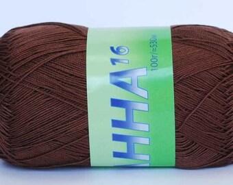 Crochet thread size 10, mercerized cotton, ANNA, 100g/ 579 yds #289 brown