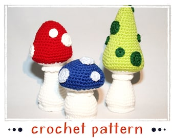 Mushrooms - Crochet Pattern - PDF file - Amigurumi