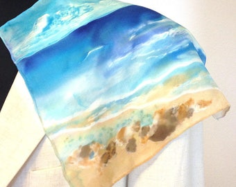 Sea Dreams in the Afternoon, hand painted pocket square