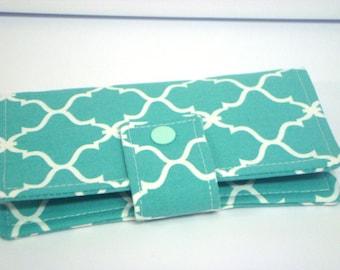 Fabric Checkbook Cover, Holder -  Turquoise Lattice  Quatrefoil
