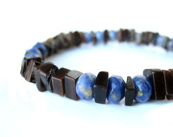 "Men's bracelet, mens surfer jewelry handmade from blue sodalite and black pen shell. ""Ol' Blue Eyes"""