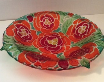 Fused Glass Bowl - Decorative & Functional Textured Peonies / Dish/ Serving/ Flowers/ Fused Art Glass