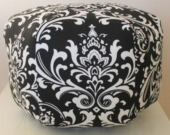 Damask Floor pouf,  Floor pillow, foot stool, Moroccan pouf,  Floor cushion, Ottoman Pouf, Black Damask