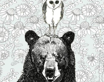 Owl Art-Bear Art-Owl and Bear Illustration - Just The Two Of Us - Bear Decor - Owl Decor
