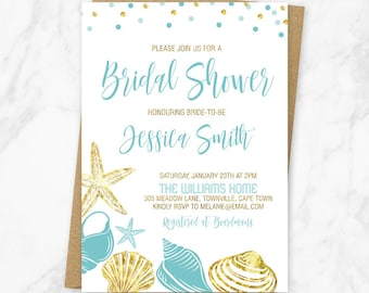 Beach Bridal Shower Invitation, Bridal Shower Invitation Printable, Nautical Bridal Shower Invite, Seashell Invitation, Blue And Gold Invite