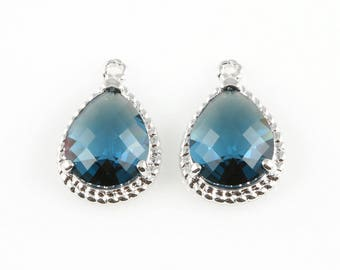 2pcs Montana Blue Teardrop Glass Charm in Rhodium, Framed Drop Glass Gem / Birthstone / September / Sapphire / 12mm x 18mm / GMBRH-006-P